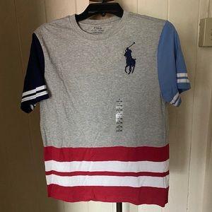 POLO Boys sz L 14-16 Big Pony Gray Tee Stripe #3